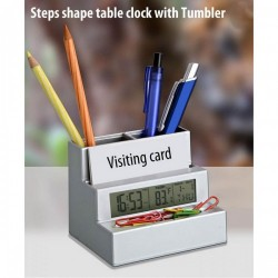 Steps shape table clock (with tumbler and visiting card holder)